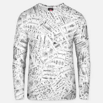 Thumbnail image of Musical Instrument Vintage Patent Pattern II Unisex sweater, Live Heroes