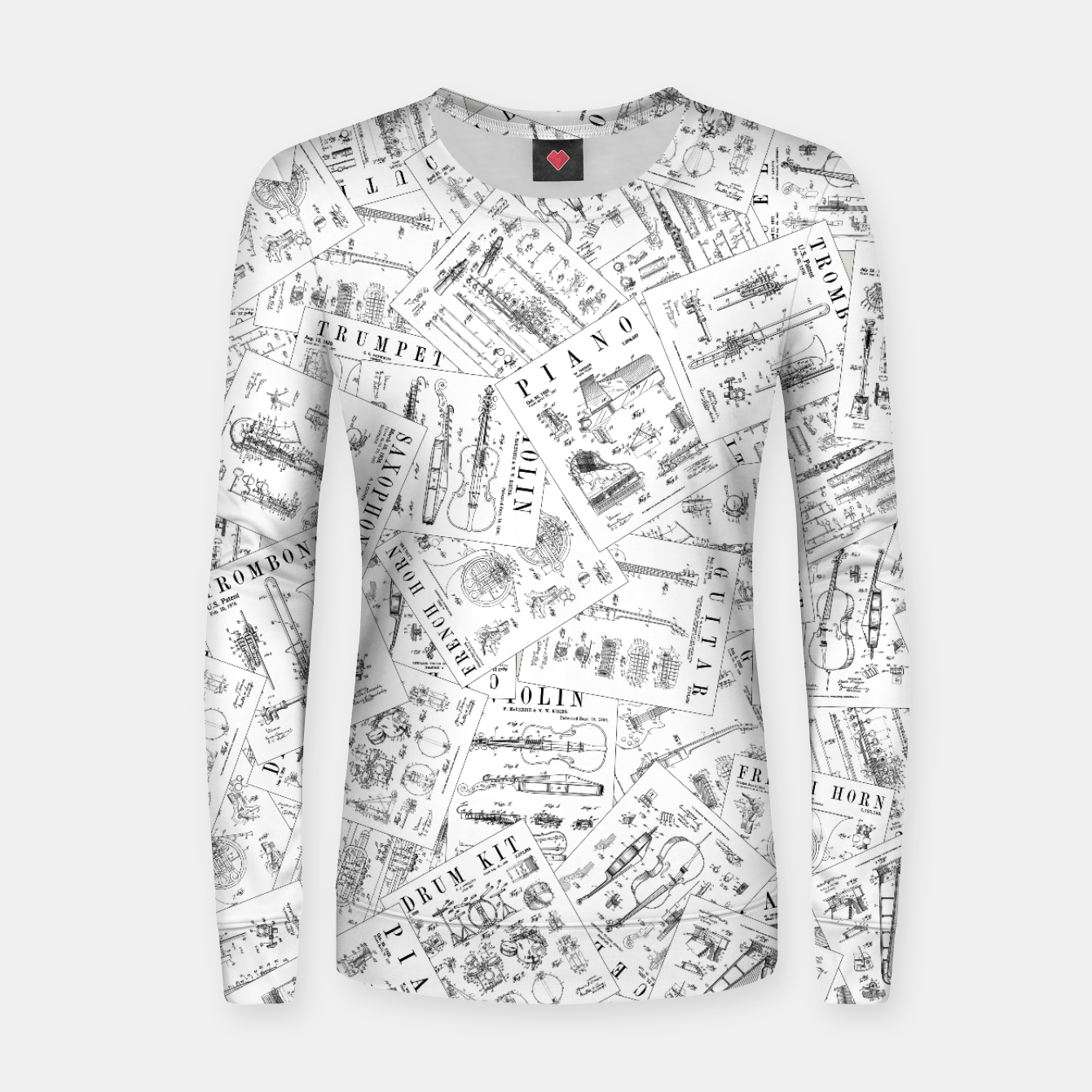 Image of Musical Instrument Vintage Patent Pattern II Women sweater - Live Heroes