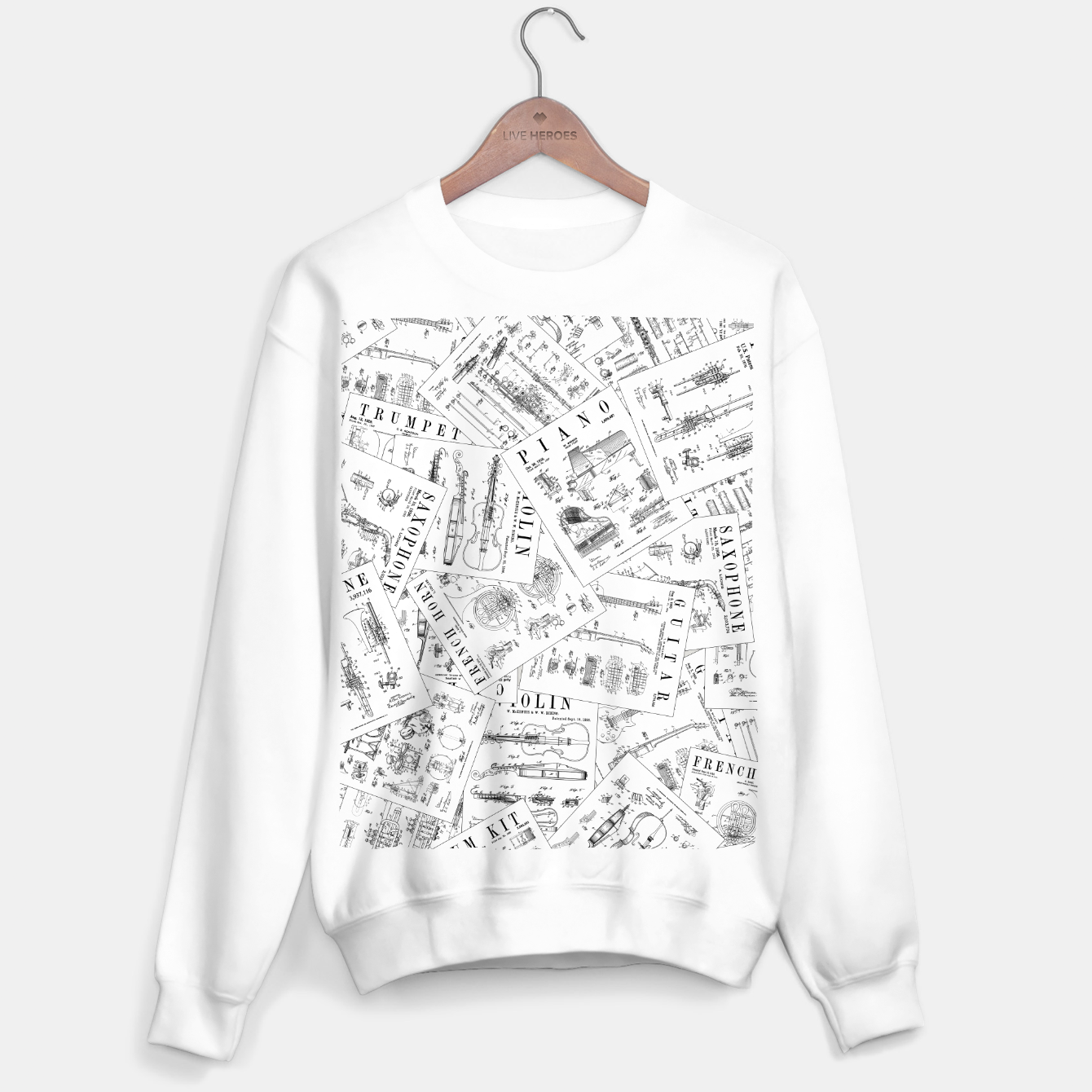 Image of Musical Instrument Vintage Patent Pattern II Sweater regular - Live Heroes