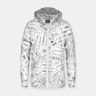 Thumbnail image of Musical Instrument Vintage Patent Pattern II Zip up hoodie, Live Heroes