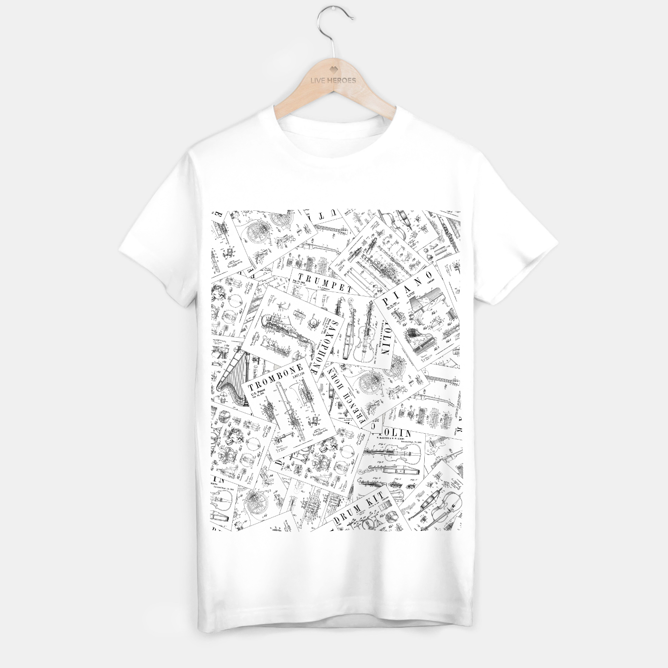 Image of Musical Instrument Vintage Patent Pattern II T-shirt regular - Live Heroes