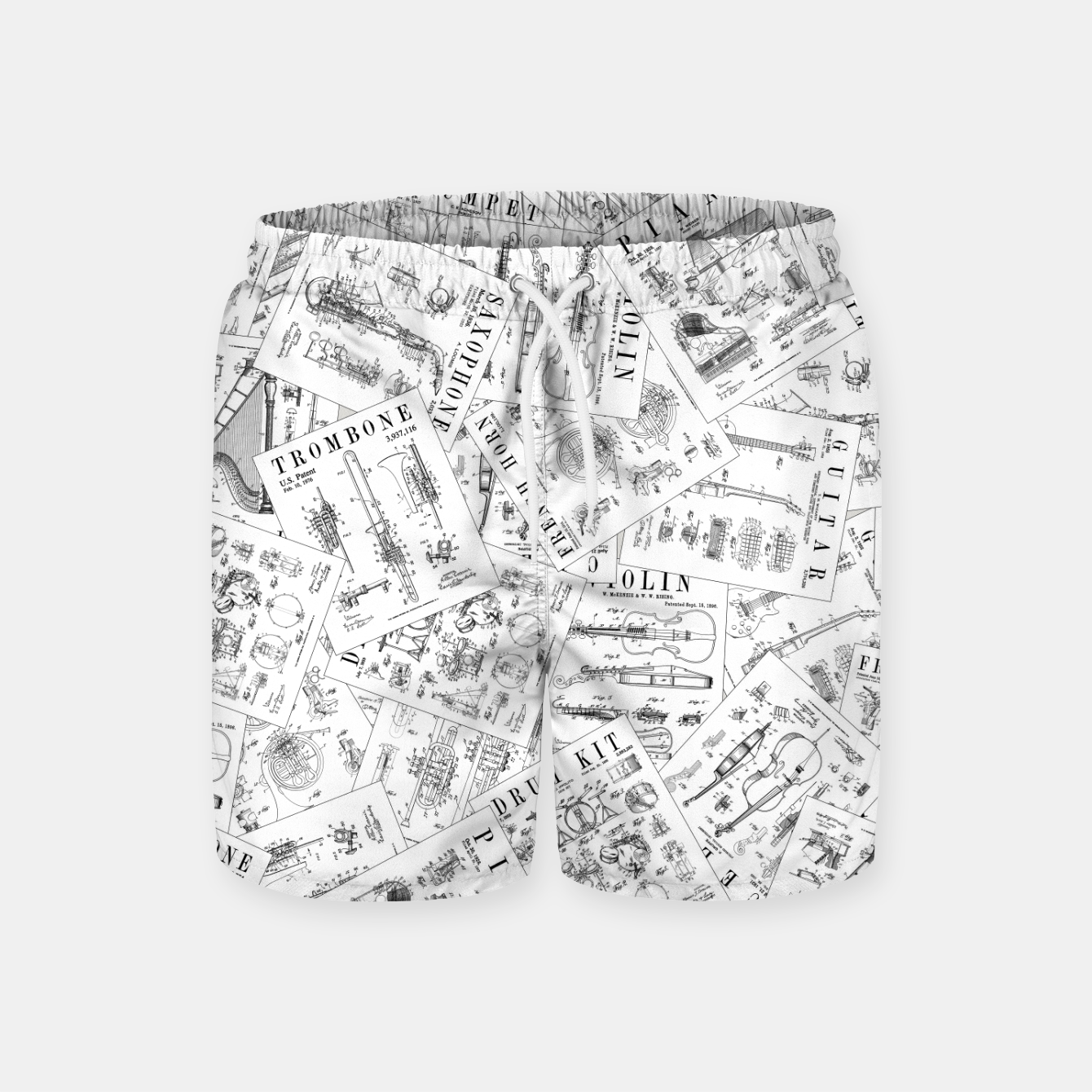 Image of Musical Instrument Vintage Patent Pattern II Swim Shorts - Live Heroes