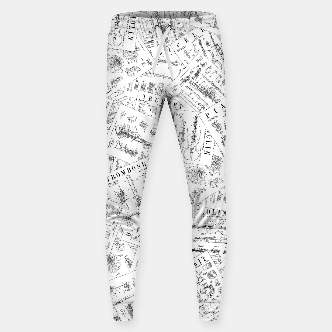 Image of Musical Instrument Vintage Patent Pattern II Sweatpants - Live Heroes