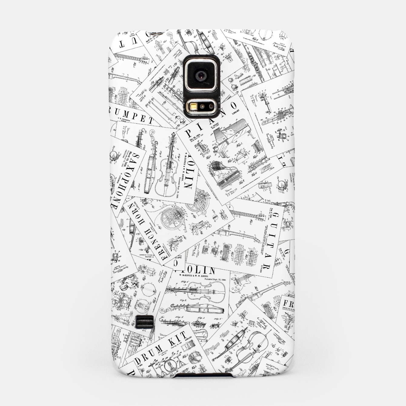 Image of Musical Instrument Vintage Patent Pattern II Samsung Case - Live Heroes
