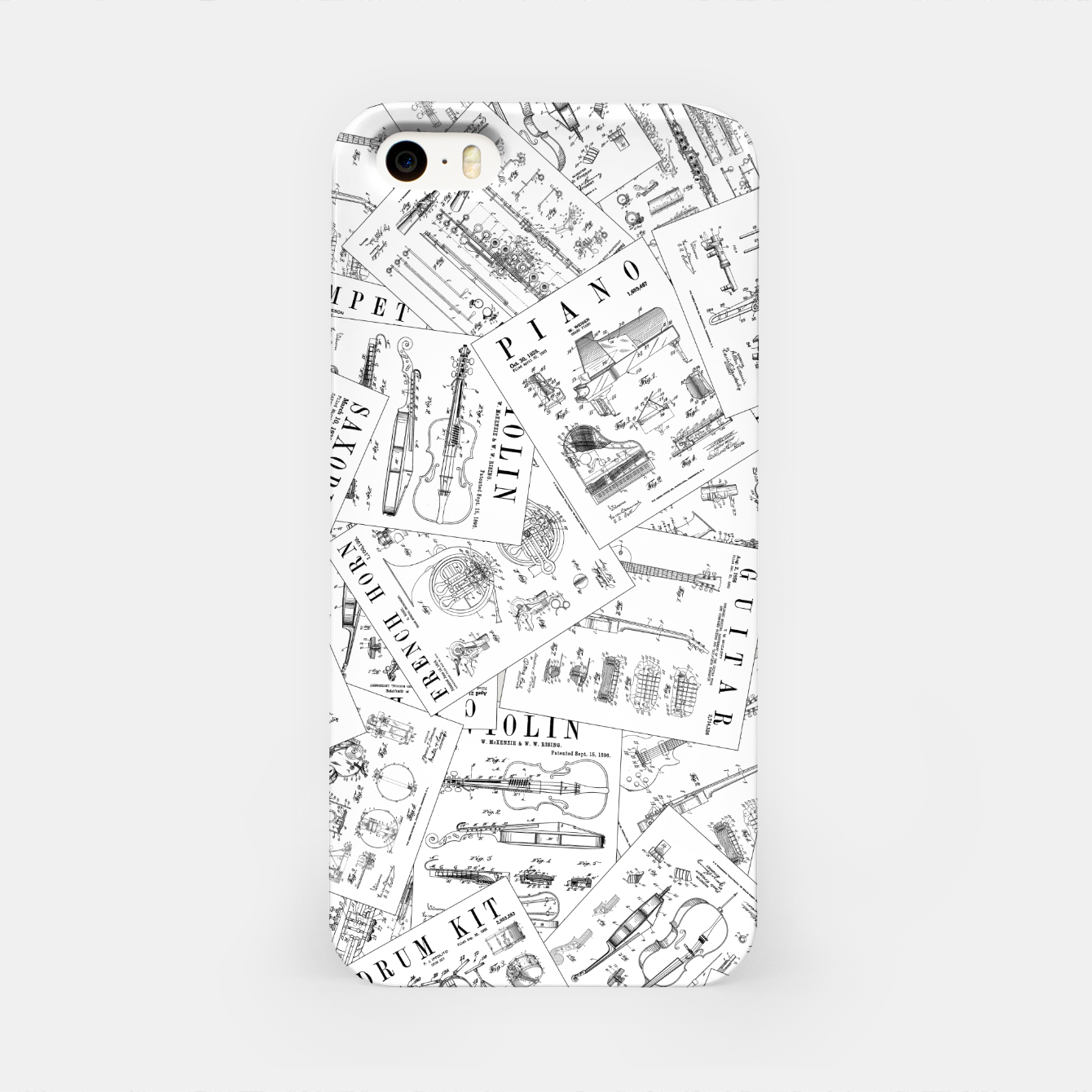 Image of Musical Instrument Vintage Patent Pattern II iPhone Case - Live Heroes