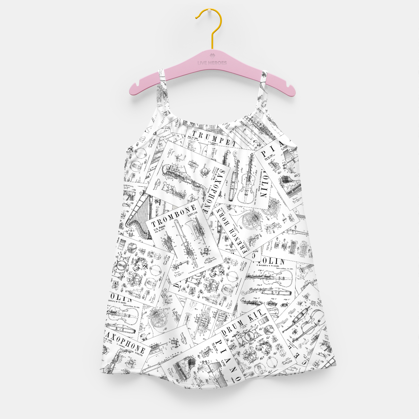 Image of Musical Instrument Vintage Patent Pattern II Girl's dress - Live Heroes