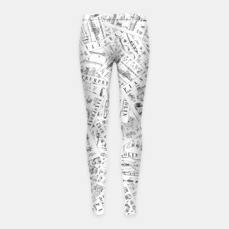 Thumbnail image of Musical Instrument Vintage Patent Pattern II Girl's leggings, Live Heroes