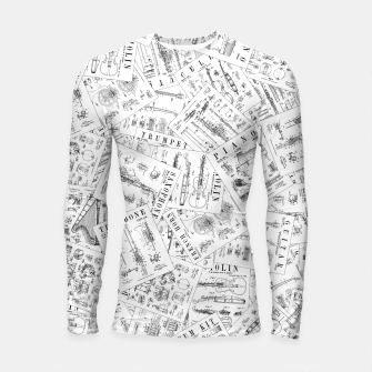 Thumbnail image of Musical Instrument Vintage Patent Pattern II Longsleeve rashguard , Live Heroes