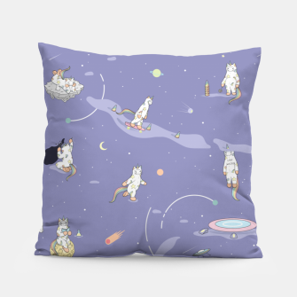 Thumbnail image of Weird Unicorn Cat in Space Pillow, Live Heroes
