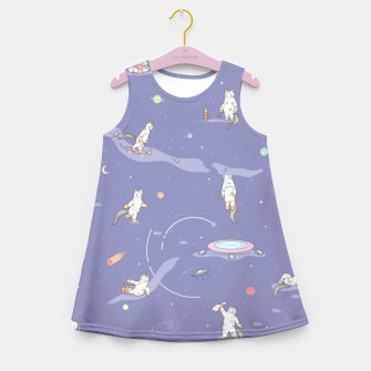 Miniatur Weird Unicorn Cat in Space Girl's summer dress, Live Heroes