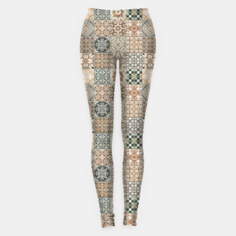 Thumbnail image of Traditional Oriental Vintage Moroccan Tiles Style Leggings, Live Heroes