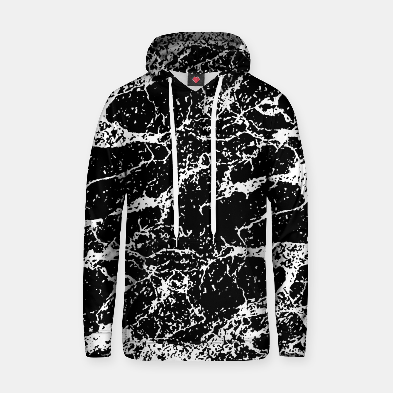 Image de Black and White Abstract Textured Print Hoodie - Live Heroes