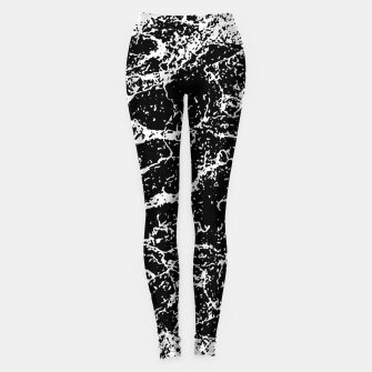 Black and White Abstract Textured Print Leggings miniature