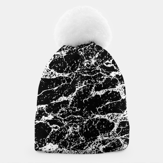 Black and White Abstract Textured Print Beanie miniature