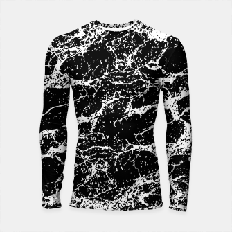 Black and White Abstract Textured Print Longsleeve rashguard  miniature
