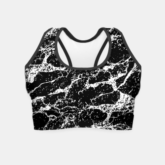 Black and White Abstract Textured Print Crop Top miniature