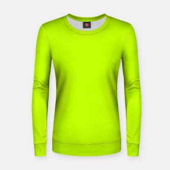 Miniatur Bitter Lime Neon Green Yellow Solid Color Women sweater, Live Heroes