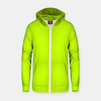 Bitter Lime Neon Green Yellow Solid Color Zip up hoodie imagen en miniatura