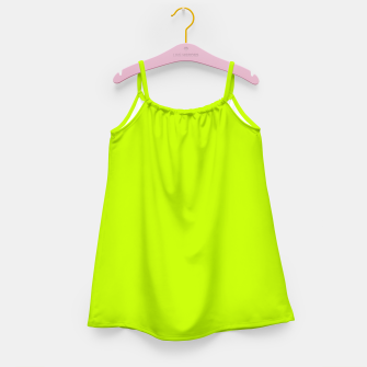 Miniatur Bitter Lime Neon Green Yellow Solid Color Girl's dress, Live Heroes