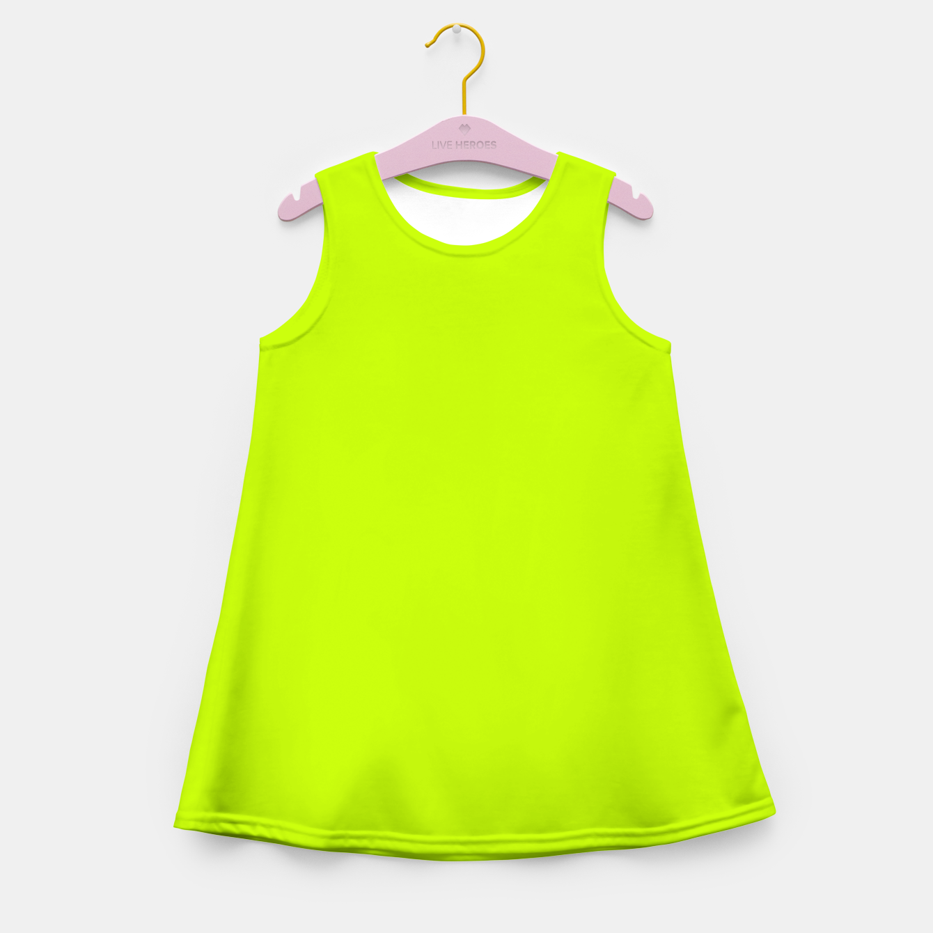 Imagen de Bitter Lime Neon Green Yellow Solid Color Girl's summer dress - Live Heroes