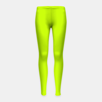 Miniatur Bitter Lime Neon Green Yellow Solid Color Girl's leggings, Live Heroes