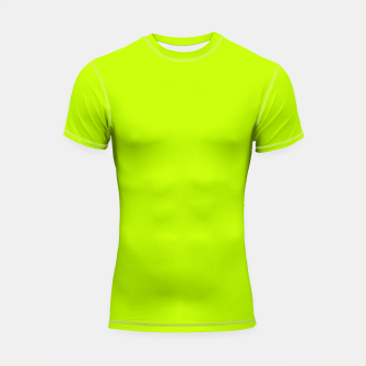 Miniatur Bitter Lime Neon Green Yellow Solid Color Shortsleeve rashguard, Live Heroes