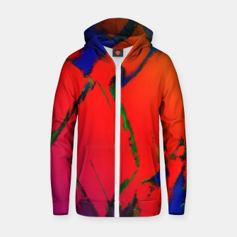 Thumbnail image of Colliding panels red Zip up hoodie, Live Heroes