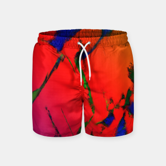 Thumbnail image of Colliding panels red Swim Shorts, Live Heroes