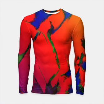 Thumbnail image of Colliding panels red Longsleeve rashguard , Live Heroes
