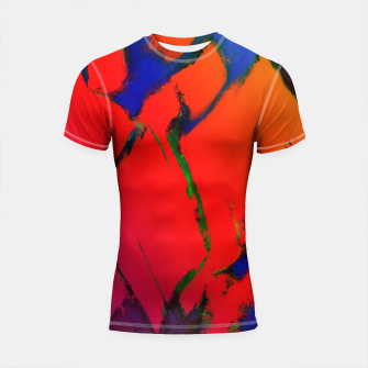 Thumbnail image of Colliding panels red Shortsleeve rashguard, Live Heroes
