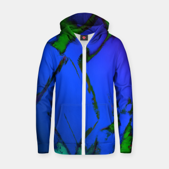 Thumbnail image of Colliding panels blue Zip up hoodie, Live Heroes