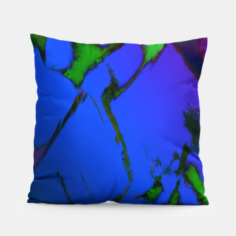 Thumbnail image of Colliding panels blue Pillow, Live Heroes