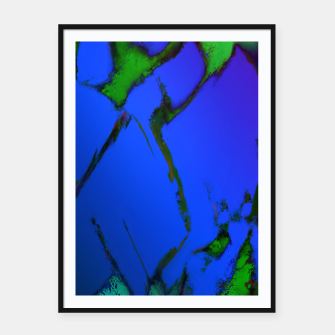 Thumbnail image of Colliding panels blue Framed poster, Live Heroes