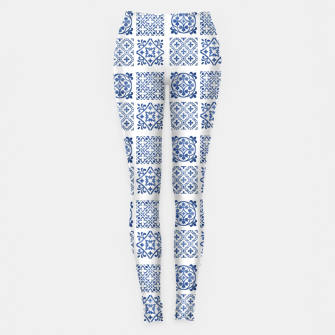 Thumbnail image of Blue & White Traditional Moroccan Tiles Style Artwork Leggings, Live Heroes
