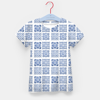 Thumbnail image of Blue & White Traditional Moroccan Tiles Style Artwork Kid's t-shirt, Live Heroes