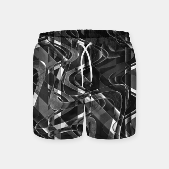 Thumbnail image of Black and White Geometric Print Swim Shorts, Live Heroes