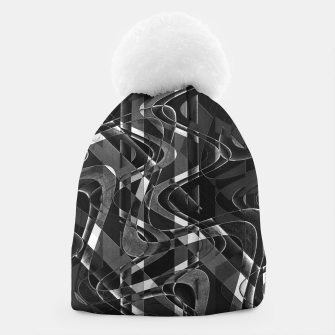 Thumbnail image of Black and White Geometric Print Beanie, Live Heroes