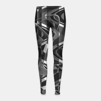 Thumbnail image of Black and White Geometric Print Girl's leggings, Live Heroes