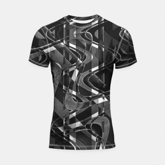 Thumbnail image of Black and White Geometric Print Shortsleeve rashguard, Live Heroes
