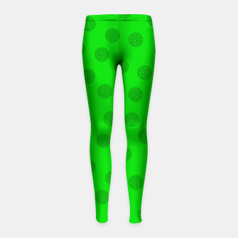 Thumbnail image of Dots with points Green Girl's leggings, Live Heroes