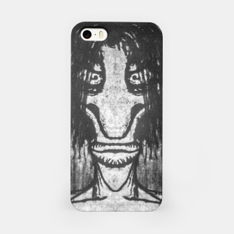 Black and White Zombie Man Portrait Drawing iPhone Case Bild der Miniatur