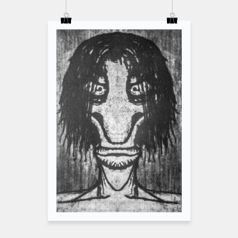 Black and White Zombie Man Portrait Drawing Poster Bild der Miniatur
