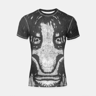 Black and White Zombie Man Portrait Drawing Shortsleeve rashguard Bild der Miniatur