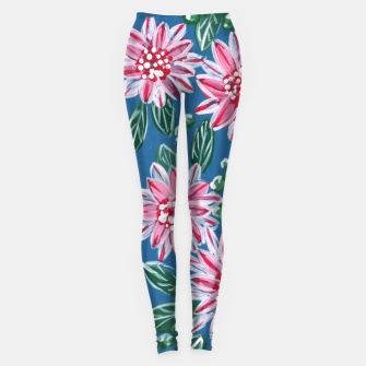 Thumbnail image of Floral Pattern - Blue & Carmine Leggings, Live Heroes