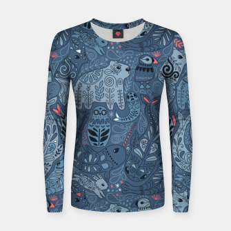Imagen en miniatura de Arctic animals. Polar bear, rabbit, fox, narwhal, whale, owl. Winter friends. Anna Alekseeva Women sweater, Live Heroes