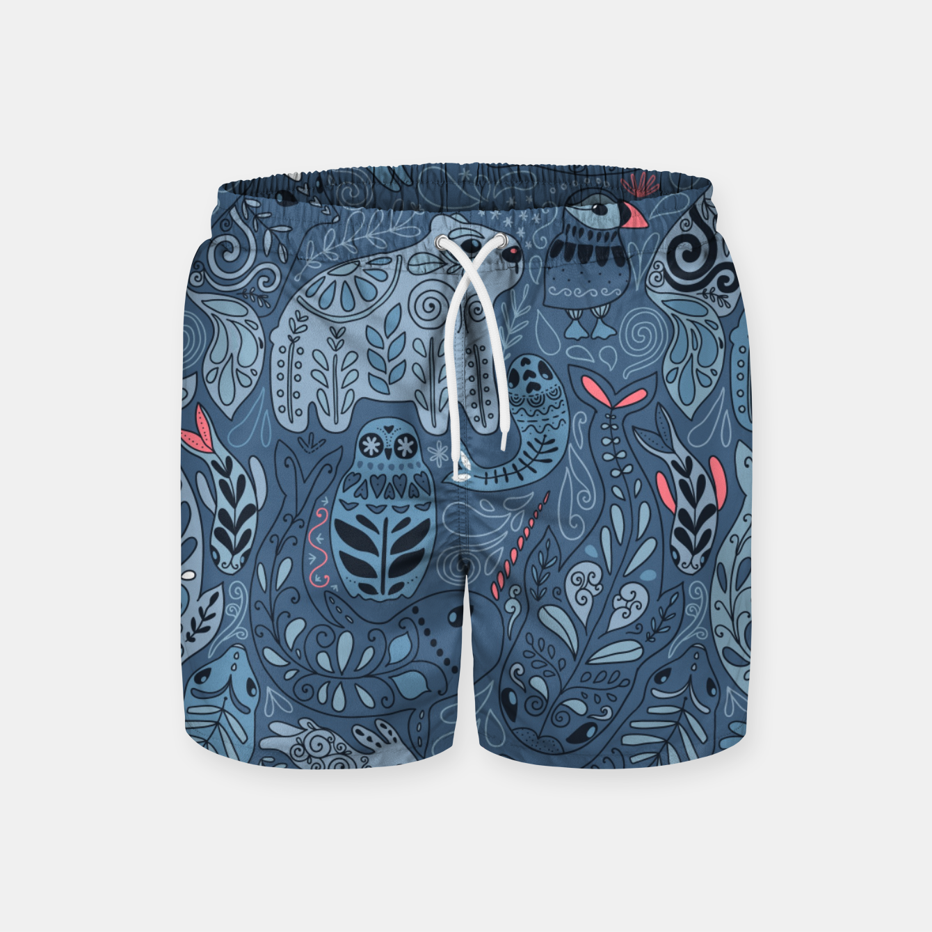 Zdjęcie Arctic animals. Polar bear, rabbit, fox, narwhal, whale, owl. Winter friends. Anna Alekseeva Swim Shorts - Live Heroes