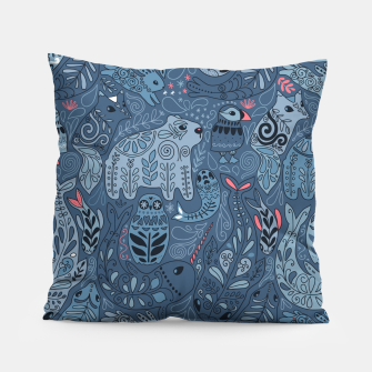 Miniaturka Arctic animals. Polar bear, rabbit, fox, narwhal, whale, owl. Winter friends. Anna Alekseeva Pillow, Live Heroes