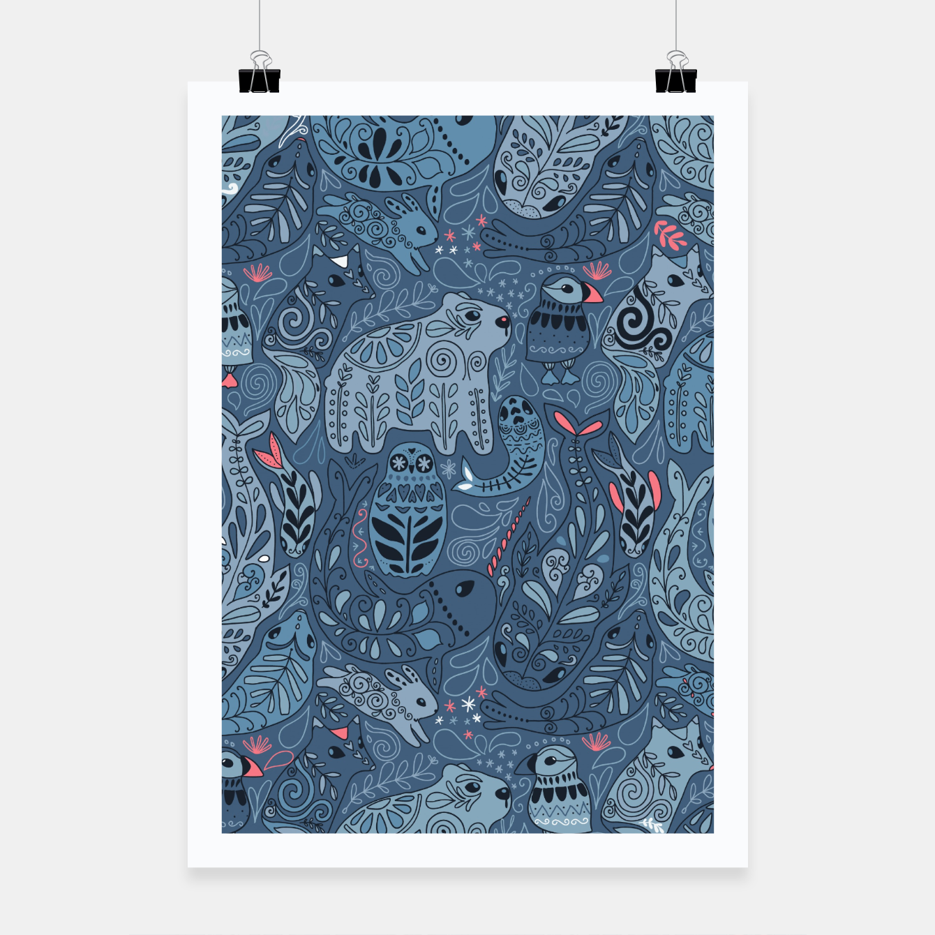 Zdjęcie Arctic animals. Polar bear, rabbit, fox, narwhal, whale, owl. Winter friends. Anna Alekseeva Poster - Live Heroes