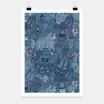 Miniaturka Arctic animals. Polar bear, rabbit, fox, narwhal, whale, owl. Winter friends. Anna Alekseeva Poster, Live Heroes