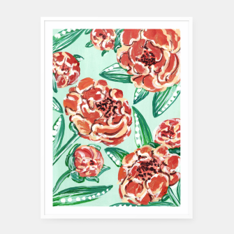 Miniatur Floral Pattern - Peach Peonies & Mint Framed poster, Live Heroes